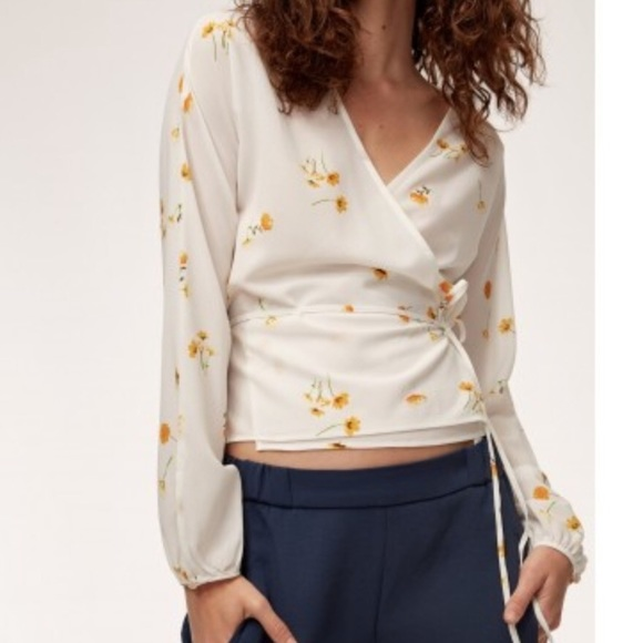 Aritzia Tops - Wilfred Aritzia Floral Long Sleeve Wrap Blouse